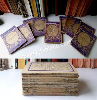 French Vintage Violet Purple Softback Books, set of 9. VOLTAIRE - CORNEILLE - LA BRUYERE - RACINE authors.