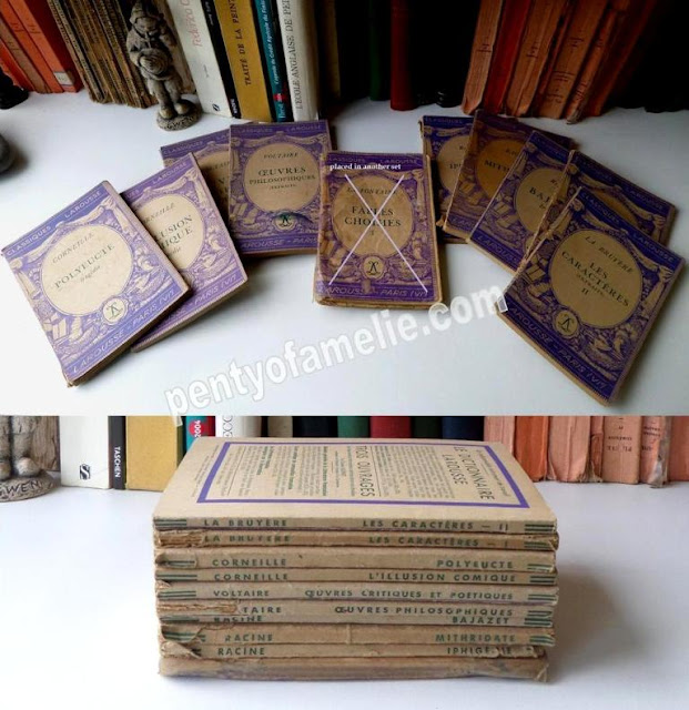 French Vintage Violet Purple Softback Books, set of 9. VOLTAIRE - CORNEILLE - LA BRUYERE - RACINE authors.