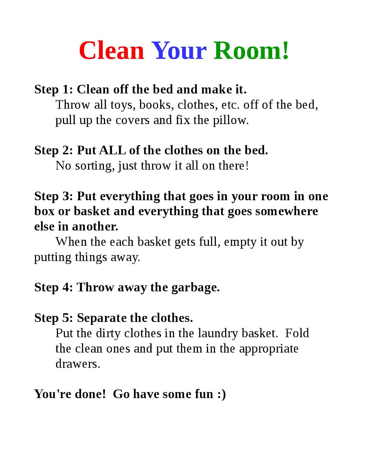 sunshine and spoons how to get kids to clean their rooms