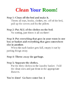 Clean Your Room printable for kids