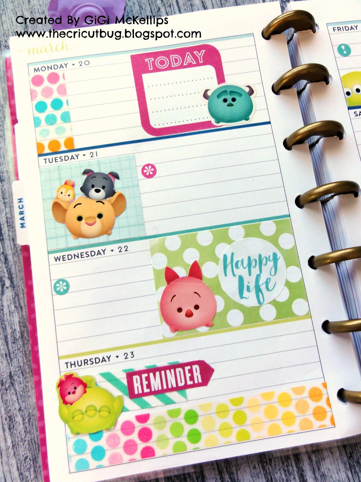 The Cricut Bug: Tsum Tsum Mini Happy Planner Spread