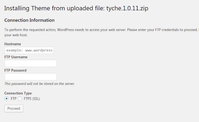 Gagal upload file tema wp karena meminta akses FTP