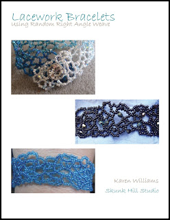 Lacework Bracelet PDF tutorial featuring right angle weave by Karen Williams