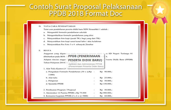 Contoh Surat Proposal Pelaksanaan PPDB 2018 Format Doc