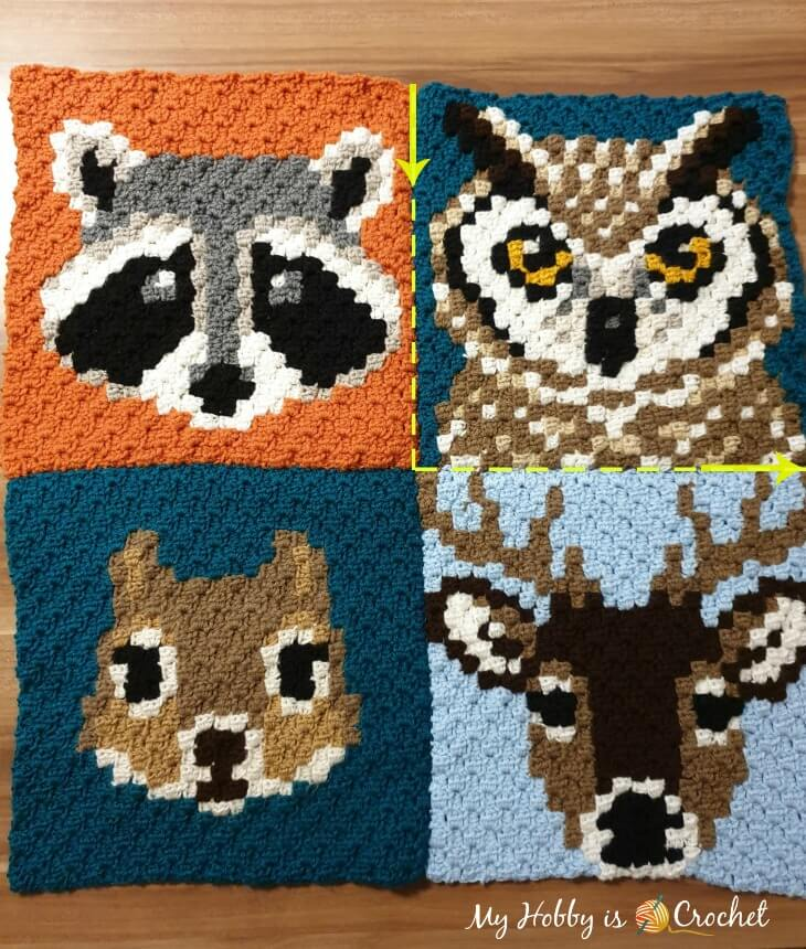 Joining 4 c2c blocks together - Wildlife Graphghan