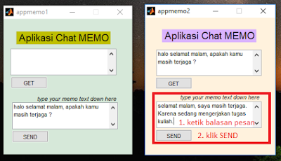 Aplikasi Chat MEMO : Mengirim Data antar dua GUI MATLAB