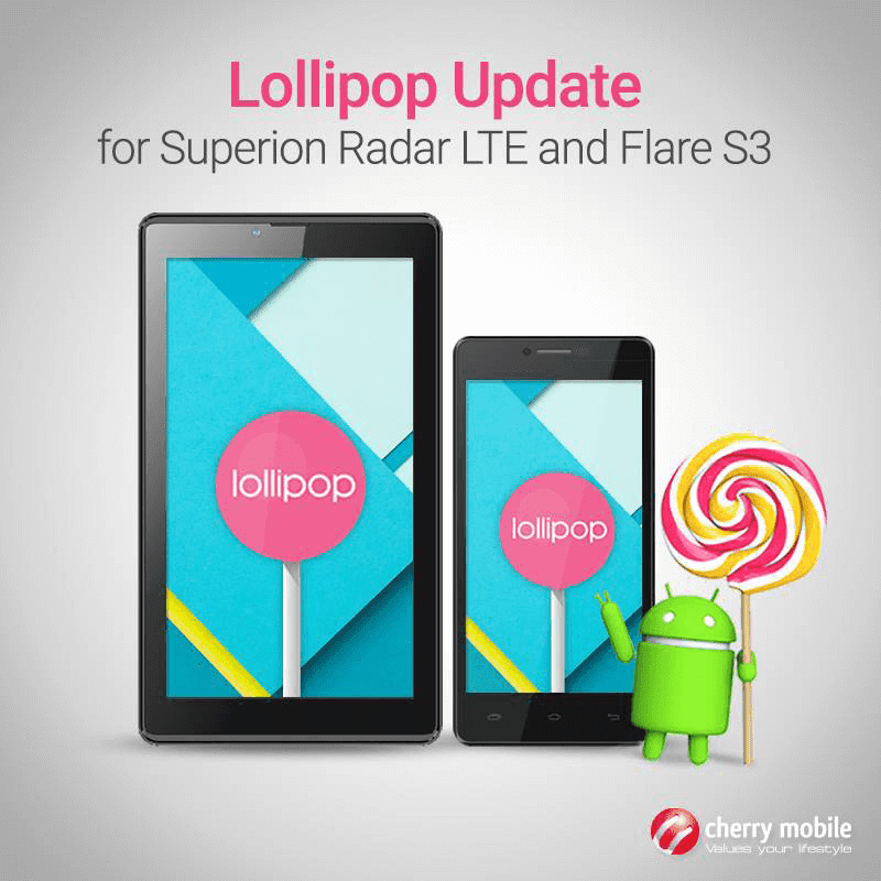 Cherry Mobile Announced OTA Lollipop Update For Superion Radar LTE And Flare S3 Now Ready!
