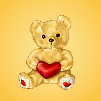 Cute fluffy teddy hypnotist on yellow background