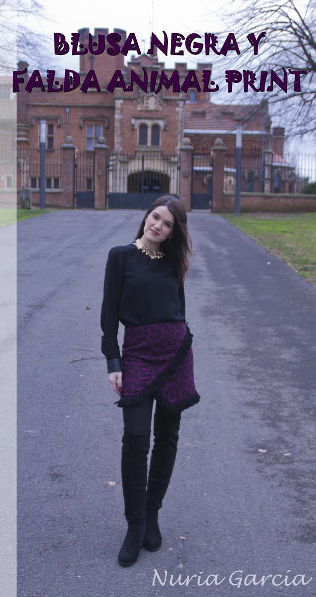 Blusa negra y falda animal print, un gran look