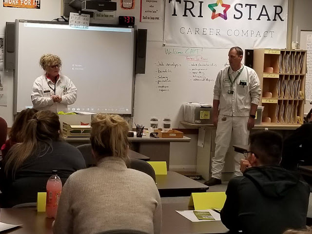 Grace Goings and Nathan Dicus from CAPT addressing Celina Tri Star CBI students