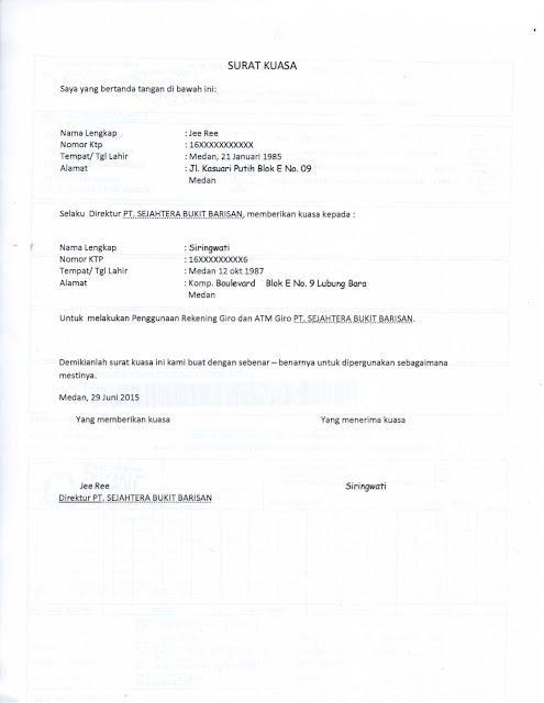 Surat Kuasa Penggunaan Rekening Giro atau ATM Giro