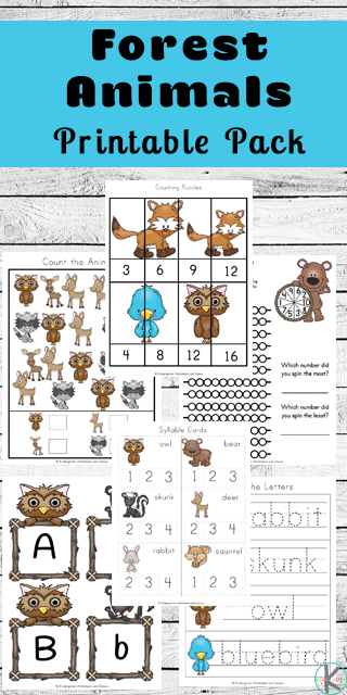 FREE Printable Forest Animals Kindergarten Worksheets are a fun way for kids to practice math like counting, skip counting, and graphing; practice alphabet letters with cards, tracing and so much more! (preschool worksheets)