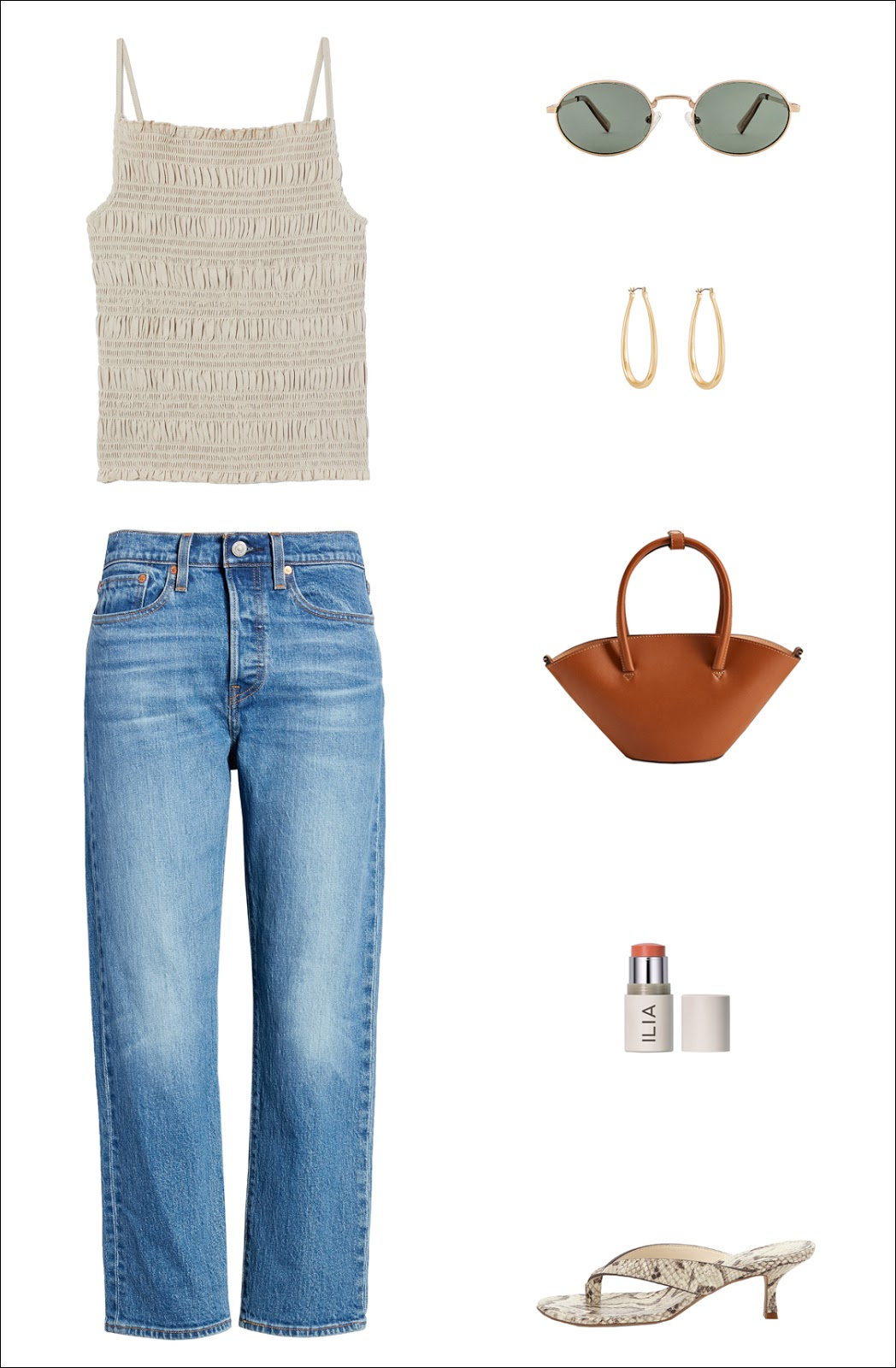 Under-$100 Summer Outfit Idea: smocked neutral tank top, round metal-frame sunglasses, tear-drop hoop earrings, a mini camel bag, cropped straight-leg jeans, and heeled flip-flop sandals.