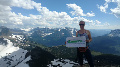 Backpacking with Banners - Top of the Swiftcurrent Mountain