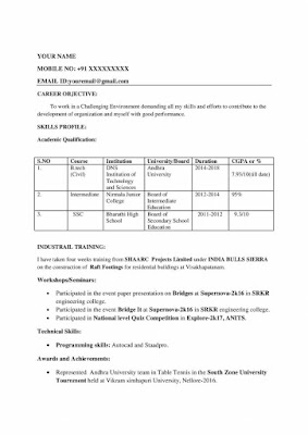 Civil Fresher Resume 1