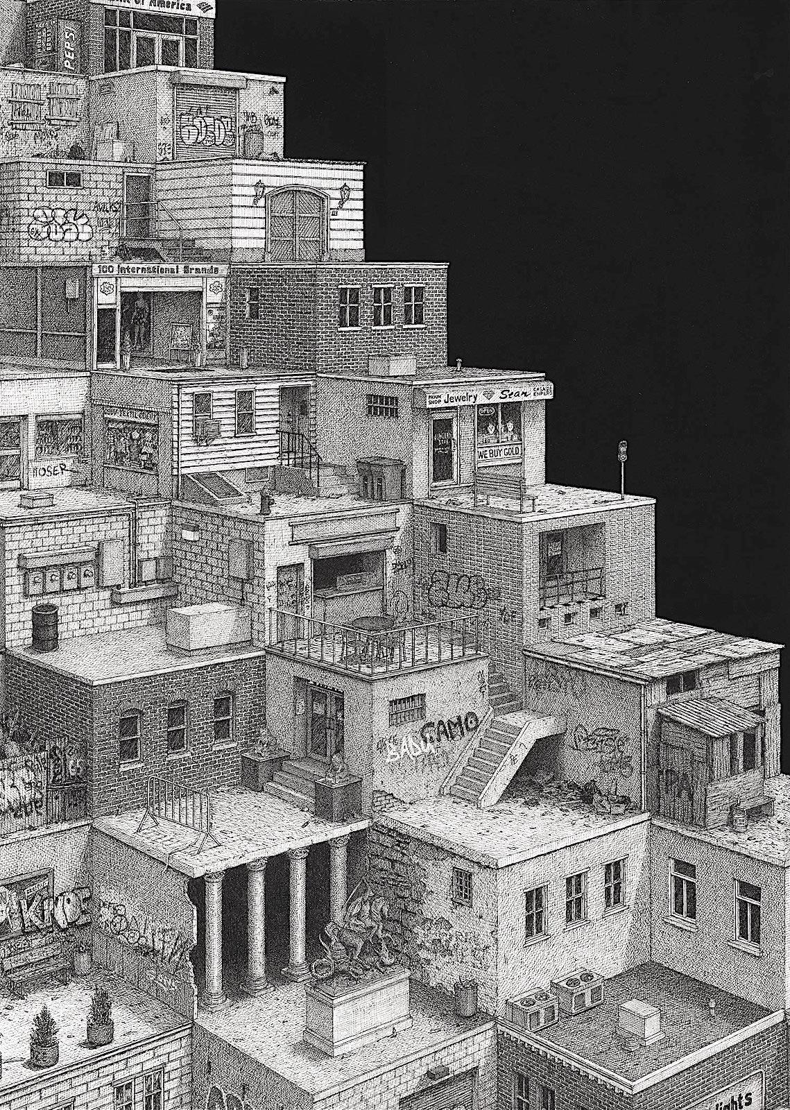 a Ben Tolman image of cascading urban homes