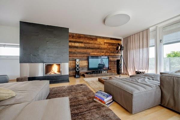 Beautiful wooden wall panels as an elegant accent wall Dolf Krüger - wood wall living room