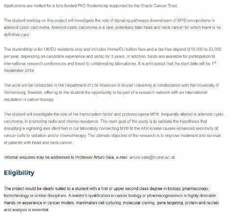 Studyinfo365: Fully Funded PhD Studentship for International