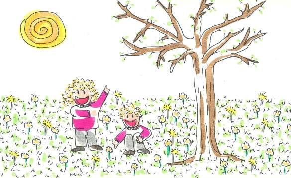 Cuento breve de los niños Tina y Leo que descubren la primavera
