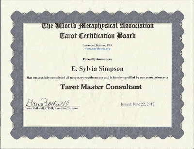 World Metaphysical Association Tarot Master Consultant Certificate