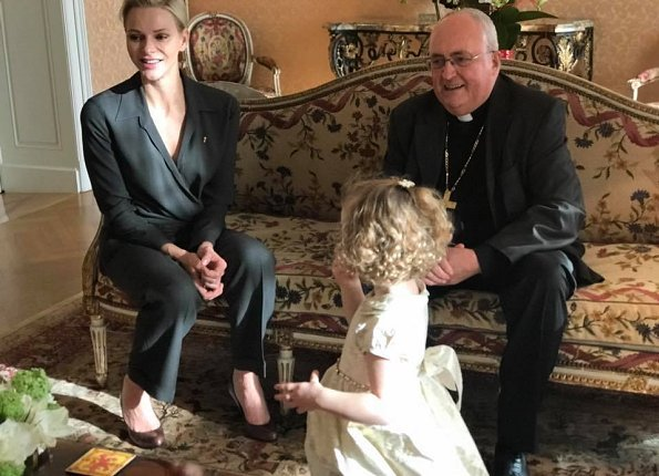 Princess Charlene shared photos of her twins, Prince Jacques and Princess Gabriella with Archbishop Bernard Barsi