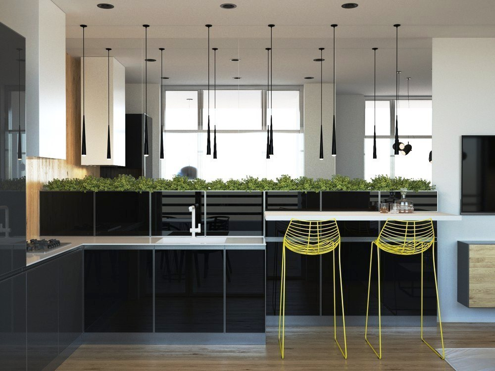 Stylish Kitchen Combined With Living Room Decor Units