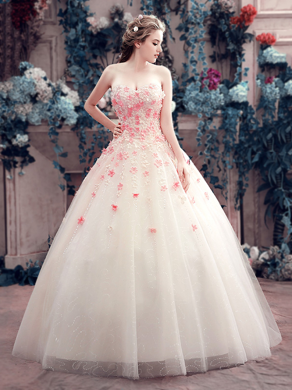 Charming Sweetheart Little Flowers Lace-Up Ball Gown Wedding