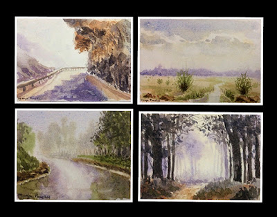 Four small water colour paintings created on hand made paper by Manju Panchal