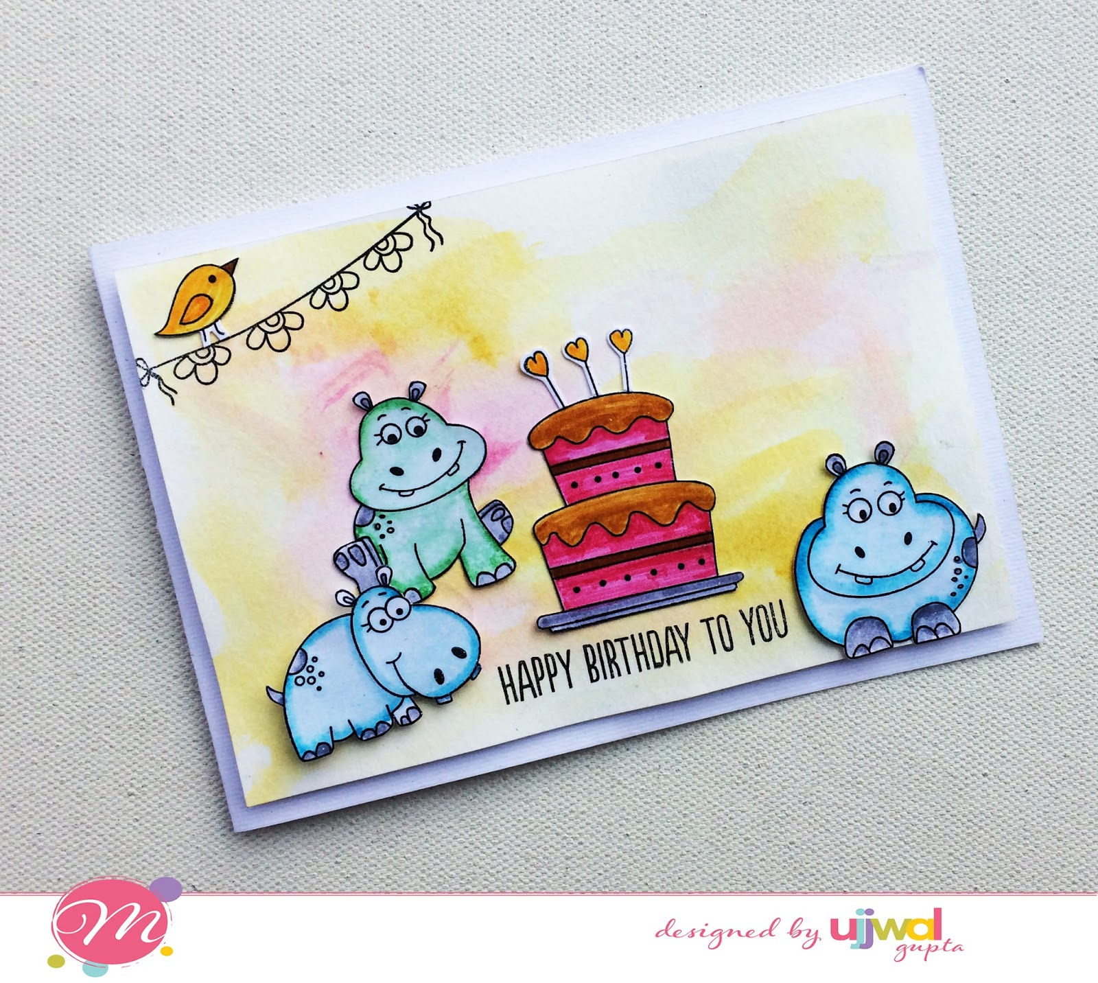 Mudra craft stamps hippo birthday card i stamped all the different hippos bird and the cake on white cardstock and colored them using tombow markers and faber castell markers bookmarktalkfo Image collections