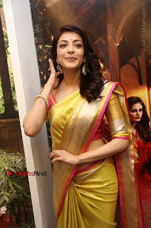 Actress Kajal Agarwal Stills in Golden Silk Saree at Trisha Sesigner Store Launch  0052.jpg
