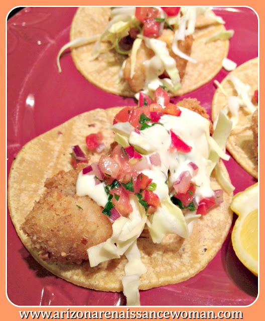 Pecan-Crusted Catfish Tacos with Meunière Aioli and Spicy Tomato and Herb Salsa
