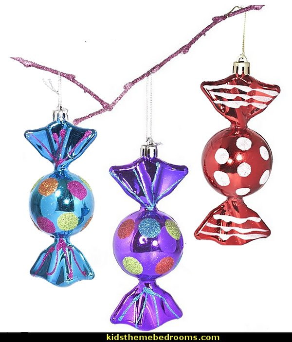Candy Holiday Shaped Ornament  candy Christmas theme decorating - candy themed christmas decorations - christmas candyland decorations -  candy ornaments -  candy shaped holiday ornaments - candy themed Christmas decor -