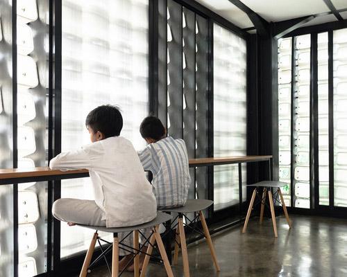 Tinuku SHAUN studio build Bima Microlibrary Park using recycled 2000 ice cream plastic bucket