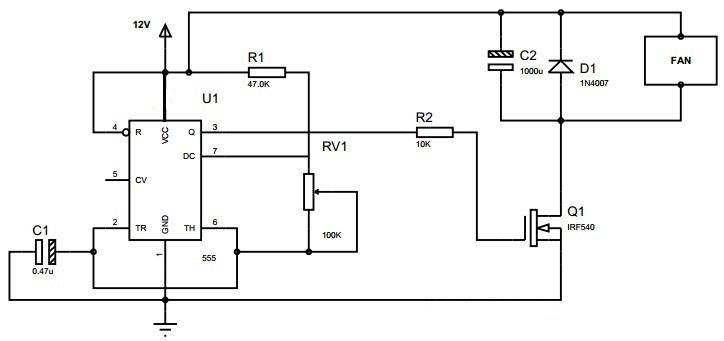 الدائرة الالكترونية التحكم في سرعة محركات التيار المستمر