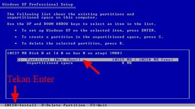 mulai instal ulang windows xp dengan cd
