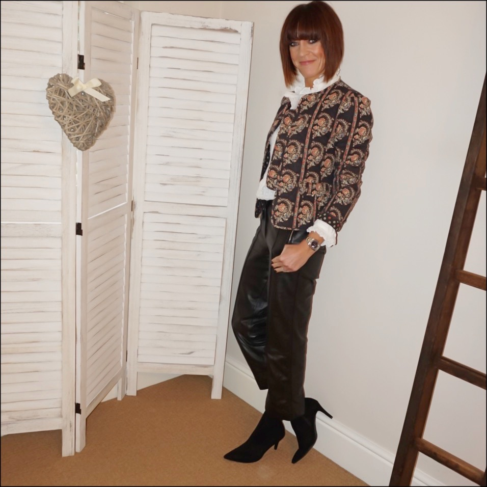 my midlife fashion, isabel marant etoile quilted jacket, isabel marant etoile frill detail blouse, marks and spencer straight leg leather trousers, marks and spencer stiletto heel velvet ankle boots