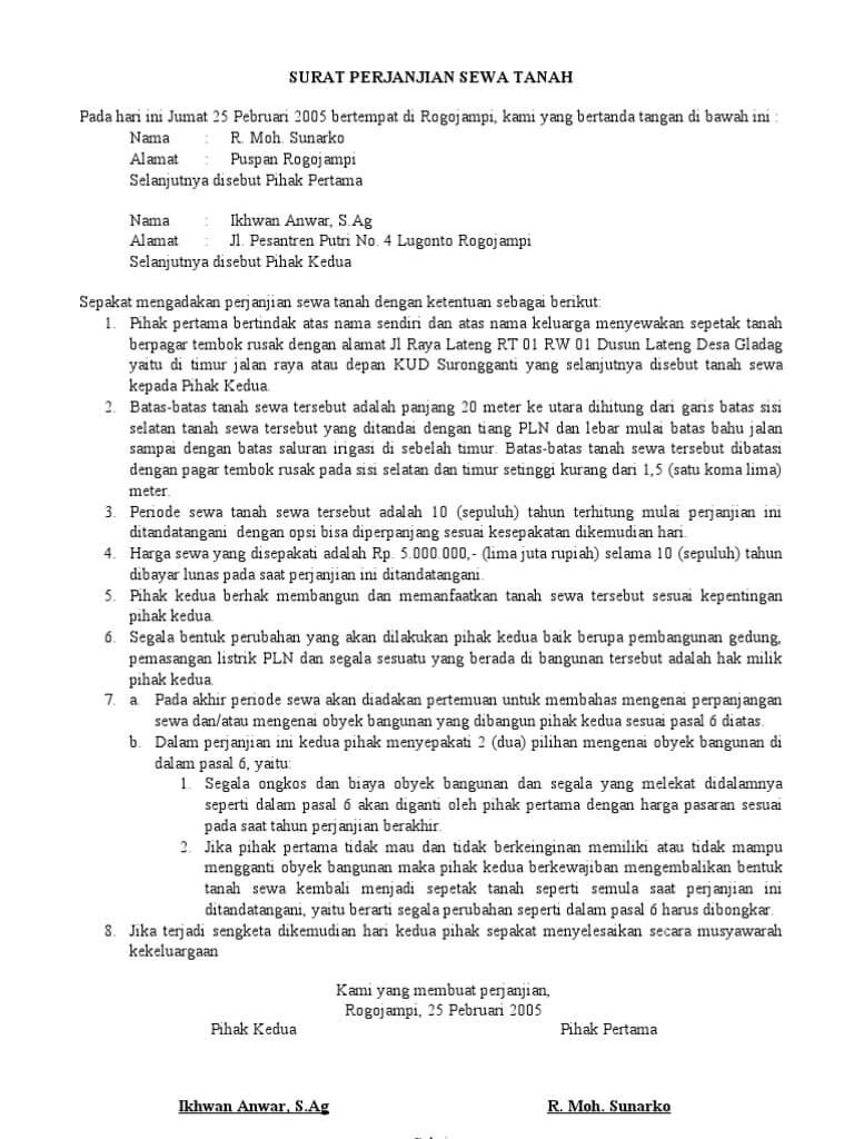 Contoh Surat Perjanjian Sewa Kontrak Rumah Yang Baik Dan Benar