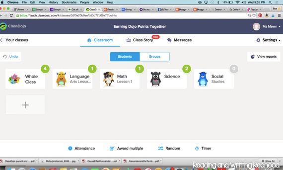 A unique way to introduce Class Dojo - going beyond individual student points - blog post from Reading and Writing Redhead