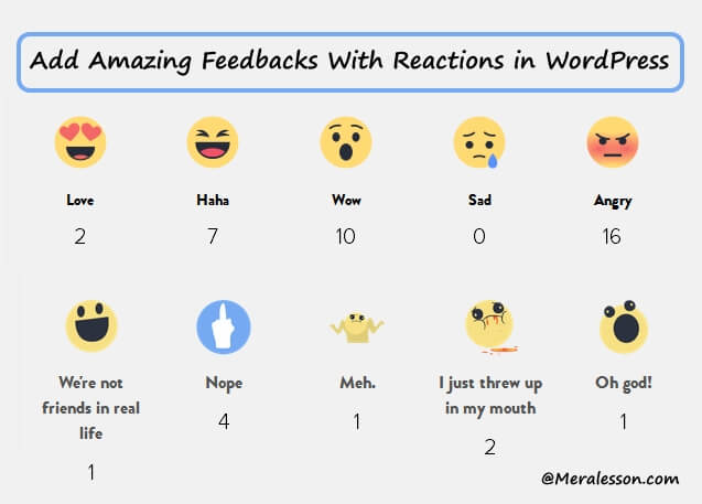 add feedback system with reaction like fb in WordPress