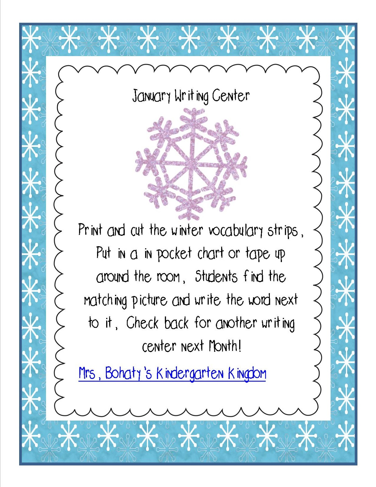 Mrs Bohaty S Kindergarten Kingdom Snowman Sound Box Amp Writing Center Freebie