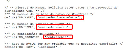 Configurar datos instalación WordPress