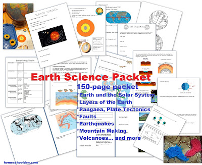 http://homeschoolden.com/2015/02/04/earth-science-packet-layers-of-the-earth-plate-tectonics-earthquakes-volcanoes-4-types-of-mountains-and-more/