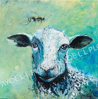 får, sheep, kunst galleri ayoe pløger, maleri, lærred, glad, farverig grøn