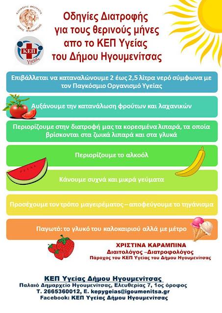 Οδηγίες Διατροφής για τους θερινούς μήνες