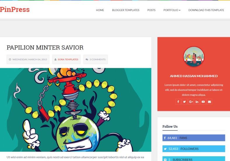 Demonstração Modelo PinPress Responsivo para Blogspot 2018