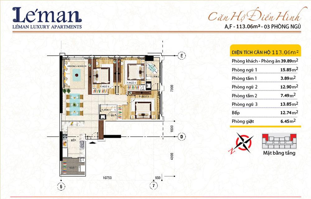 Mặt bằng căn hộ Leman C T Plaza 3 phòng ngủ | DT: 113.06m2