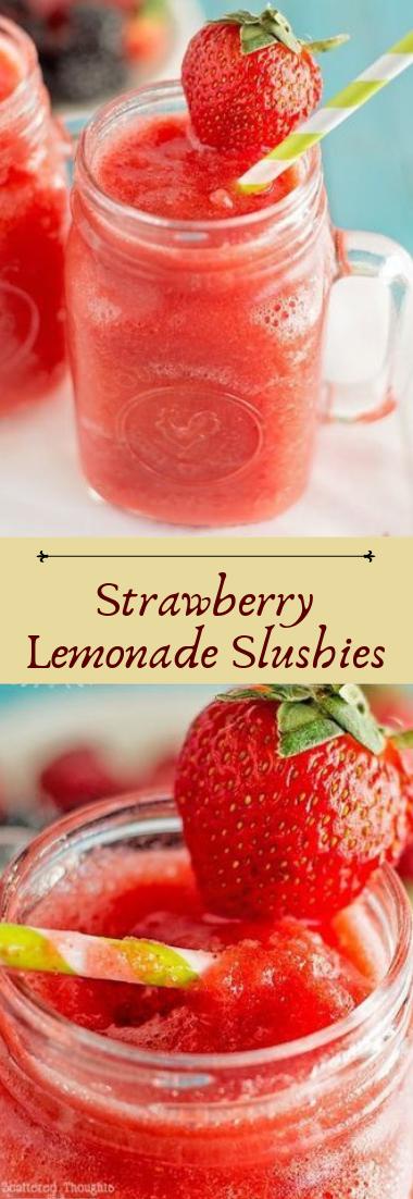 Strawberry Lemonade Slushies #cocktail #smoothie