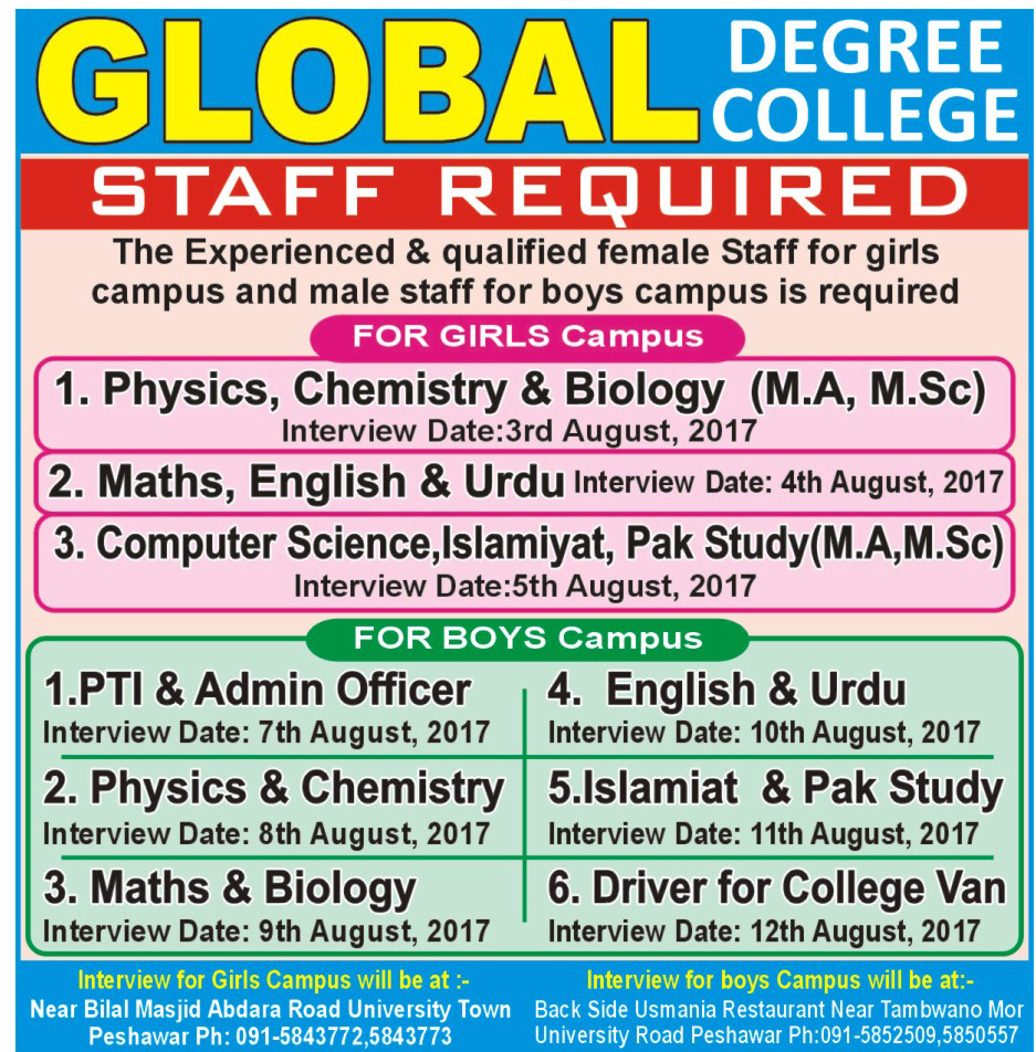 Jobs in Global Degree College Peshawar 31 July 2017.