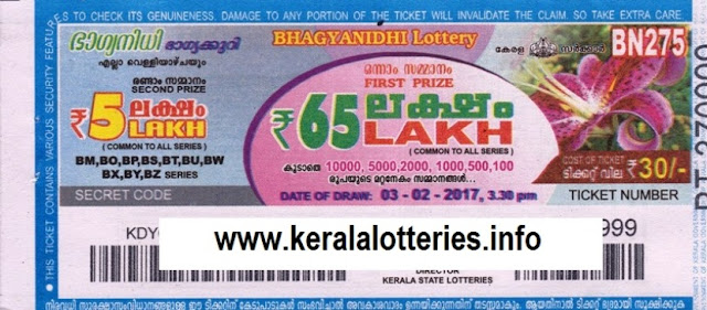 Kerala lottery result live of Bhagyanidhi (BN-69) on  25 January 2013