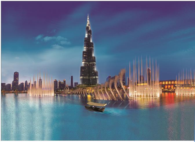 Passeio no lago das águas dançantes em Dubai